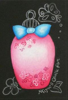チョークアートで香水瓶